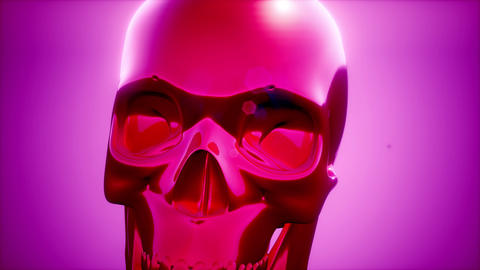metall skull rotate on colored background ビデオ