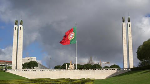 The Portuguese flag waving in Eduard VII Park in Lisbon Footage