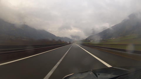 Driving on highway in rainy day Stock Video Footage