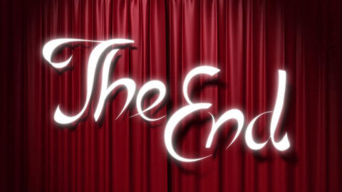 "closing red curtain with a title ""the end"" Animation"