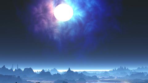 Bright moon and nebula Animation
