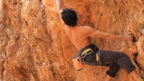 Rock Climbing Mountain Climbing Extreme Sports Rope Cliff Crag Motivation stock footage