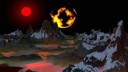 Surrealistic landscape (Two moon) Stock Video Footage