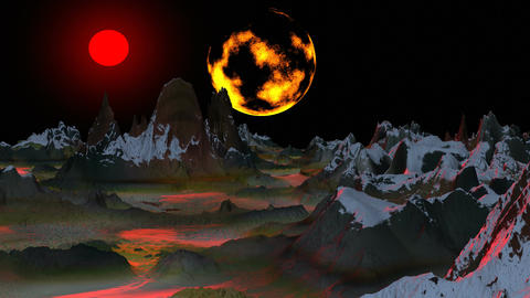 Surrealistic landscape (Two moon) Animation