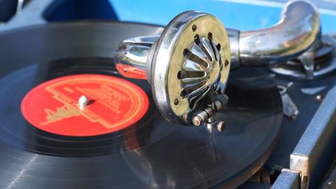 Vintage portable gramophone Stock Video Footage