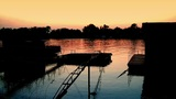 Beautiful Dusk On River Sava 05 stock footage