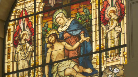 Jesus and Saint Mary Stained Glass Footage