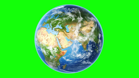 4K Realistic Earth Rotating (Loop on Greenscreen) Animation