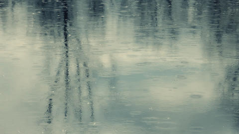 Drops Of Rain On The River 2 stock footage