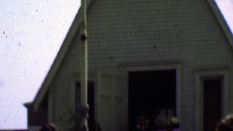 1957: The Tiny Church religious place of worship packed on a Sunday Footage