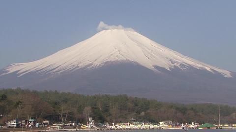 Mt. Fuji, Lake Yamanaka, Japan - Tilt Up Footage