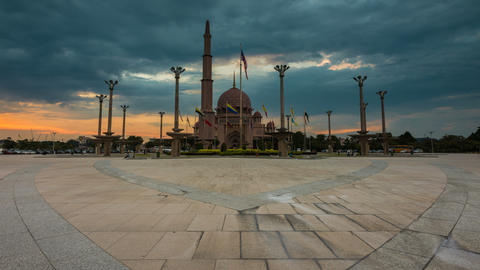 Sunset Time Lapse at Putra Mosque Footage
