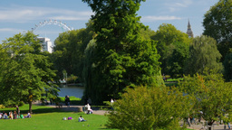 People enjoying the September sun in St James Park London. The London Eye is in  Footage