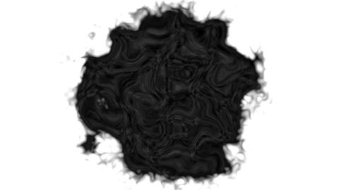 Fractal ink drop in water. Mask pattern with black animation for horror Footage
