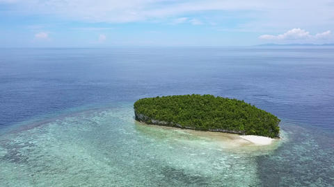 Small Tropical Island in the Ocean. Aerial View Footage