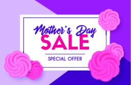 Mother's day sale discount template. Vector card ベクター