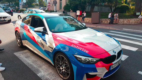 Man Driving A White BMW M4 In The Streets Of Monaco Footage