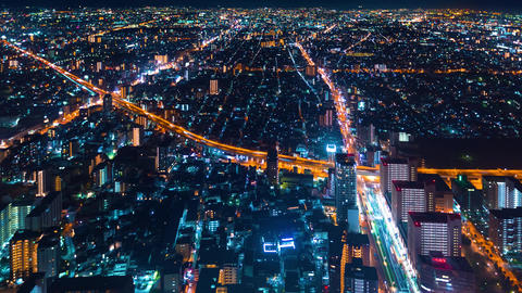 Time-lapse of Osaka at night Footage