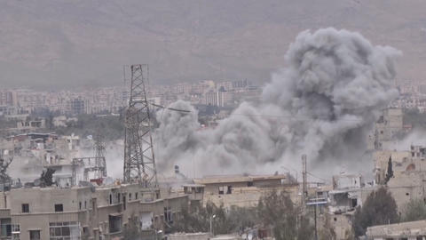 Syria, Eastern Guta. planes bombed the city Footage