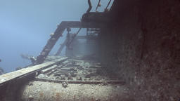 Corals on parts of sunken ship Salem Express underwater in the Red Sea in Egypt Footage