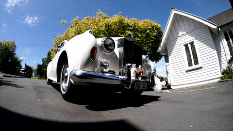 Luxury vintage wedding car and limo Footage