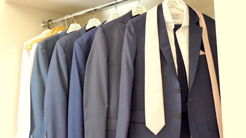 shot of wedding suits, tie, socks, shoes for the groom & groom men Live Action