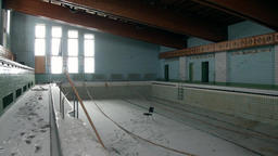 Swimming pool in building of Palace of Culture and Sports in Pyramiden Arctic Footage