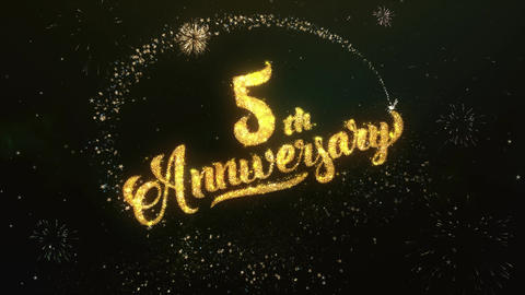 4th Anniversary Greeting and Wishes Glitter and Sparklers Particles Firework sky Animation