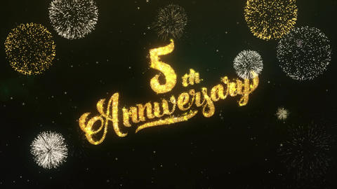 4th Anniversary Greeting and Wishes Glitter and Sparklers... Stock Video Footage