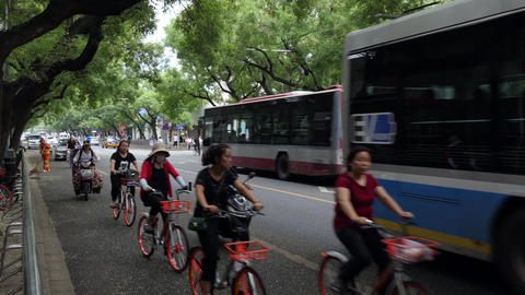 Street Traffic With Cars Bicycles People In Beijing China Asia Footage