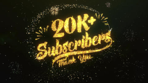 20K+ Subscribers Greeting and Wishes Made from Sparklers Particles Firework sky Animation