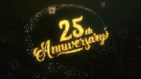25th Anniversary Greeting and Wishes Glitter and Sparklers Particles Firework Animation