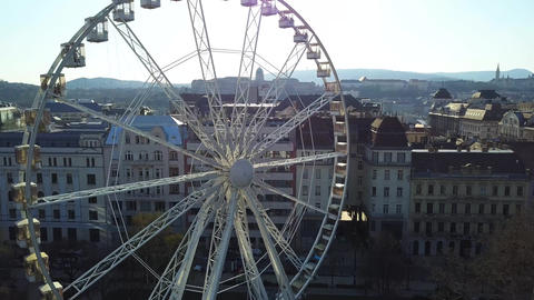 Drone take off at Deak Square, the very center of Budapest with ferris wheel Footage