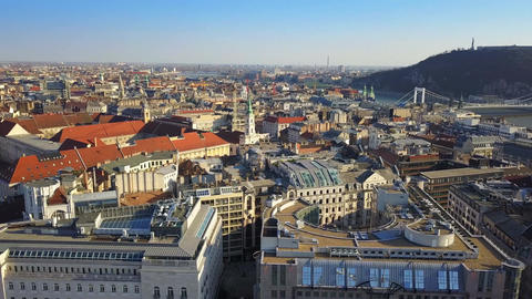 Panoramic skyline view of Pest side of Budapest with traditional yellow trams Footage