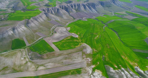 Beautiful nature, aerial view over agricultural countryside landscape with Footage