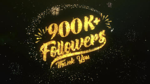 900K+ Followers Greeting and Wishes Made from Sparklers Particles Firework sky Animation