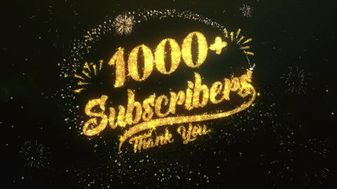 1000 Subscribers Greeting and Wishes Made from Sparklers Particles Firework sky Animation