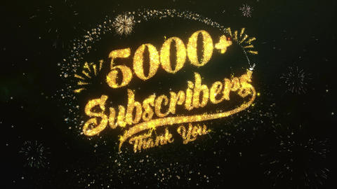 5000 Subscribers Greeting and Wishes Made from Sparklers Particles Firework sky Animation