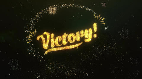 Victory Greeting and Wishes Made from Sparklers Particles Firework sky night Animation