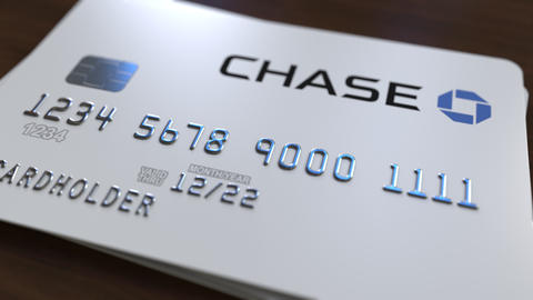 Plastic card with logo of the Chase Bank. Editorial conceptual 3D animation Footage