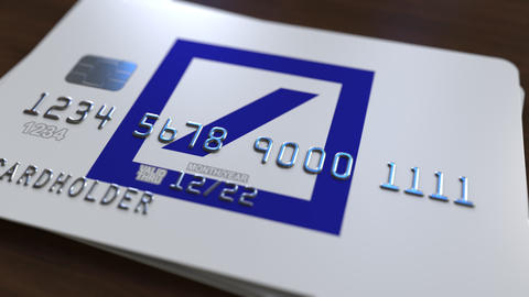 Plastic card with logo of Deutsche Bank DB. Editorial conceptual 3D animation Footage