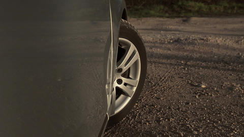 Car wheel spinning Point of View Live Action