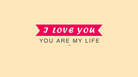 Greeting wedding card with Alpha channel. I love you. You are my life Animation