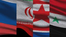 Russia Iran North Korea and Syria Waving Flags GIF