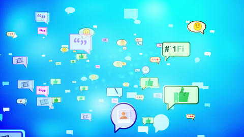 Soaring Cheery Social Media Bubbles. Loopable Animation