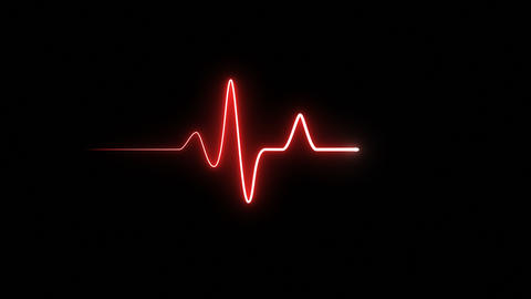 EKG 60 BPM Loop Screen, Red Animation