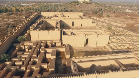 Restored ruins of ancient Babylon, Iraq. (aerial photography) Footage