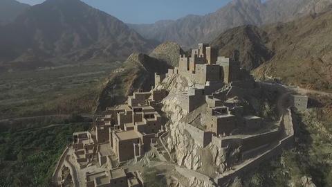 Dhy Ain Village, Al-Baha, Saudi Arabia. (aerial photography) Footage