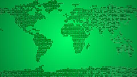Binary World Map - Light Green Animation