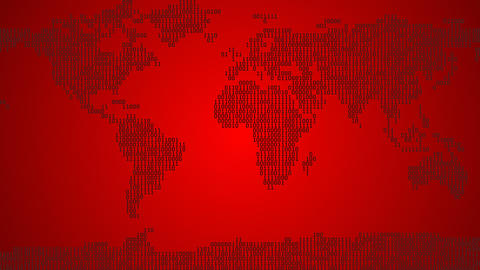 Binary World Map - Light Red CG動画素材